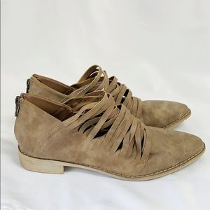 MI.iM Tan Suede Strappy Booties
